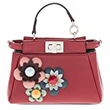 Fendi Women's Micro Peekaboo Floral Embellished Satchel Red