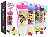 Live Infinitely 32 oz. Infuser Water Bottles - Featuring First Ever Gel Freezer Ball Infusion Rod, Flip Top Lid, Larger Dual Hand Grips & Recipe Ebook Gift (Pink Polar Edition, 32 Ounce)