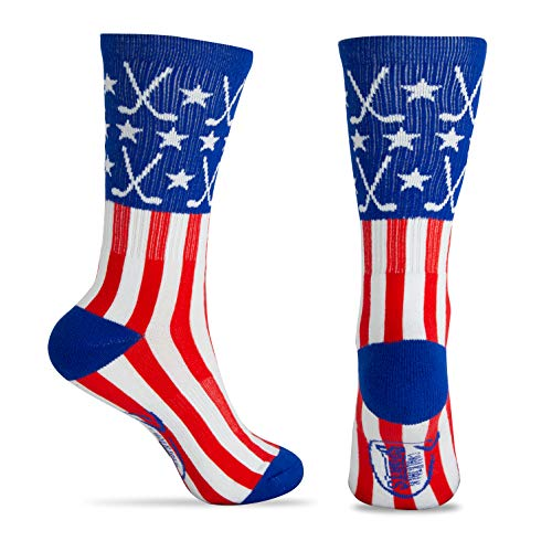 - ChalkTalkSPORTS Hockey Half Cushioned Crew Socks | Patriotic | Red/White/Blue