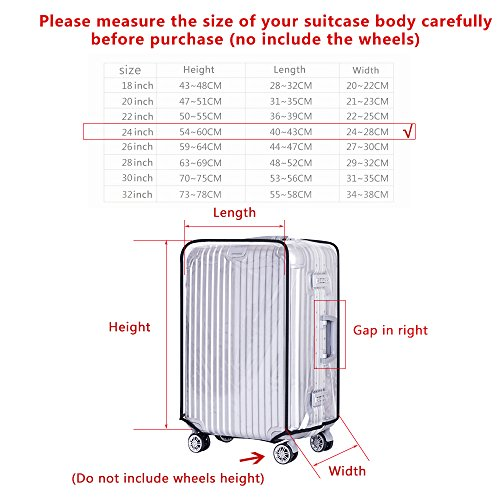 Yotako Clear PVC Suitcase Cover Protectors 20 24 28 30 Inch Luggage Cover for Wheeled Suitcase (24''(16.3.''L x 10.6''W x 22.4''H))