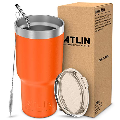 Atlin Tumbler [30 oz. Double Wall Stainless Steel Vacuum Insulation] Travel Mug [Crystal Clear Lid] Water Coffee Cup [Straw Included] (Orange) For Home,Office,School, Ice Drink, Hot Beverage