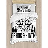 Hunting Decor Duvet Cover Set by Ambesonne, Hunting and Fishing Vintage Emblem Design Antler Horns M