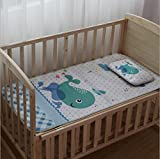 KINGZHUO Crib Sleeping Pad Cartoon Ice Silk Flax Summer Cool Mat With 9.84'' x 16.5'' Same Style Pillow