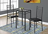 Monarch Specialties I 1000 Metal/Tempered Glass Dining Set (3 Pieces), 30″ L x 30″ D x 30″ H, Black For Sale