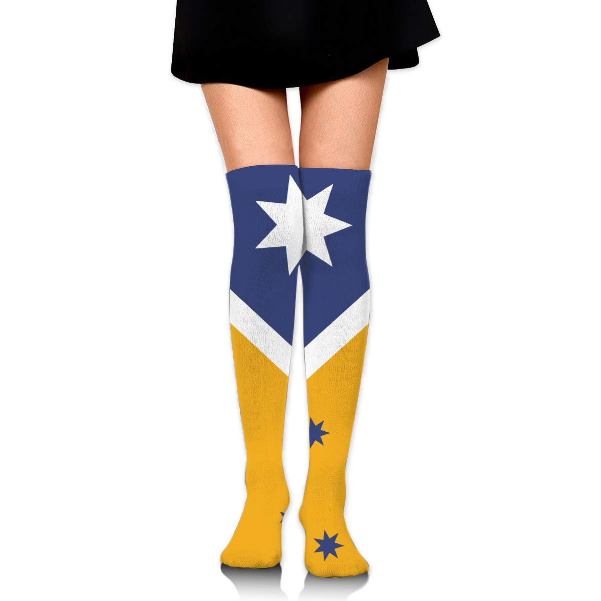 Woman Cotton Thigh High Compression Socks Australian Flag Soccer Tube Sock