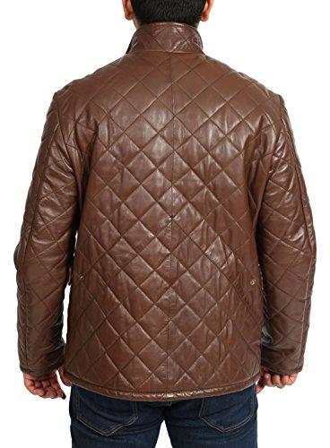 Herren Echtes Leder Anorak Stil Gepolsterte Steppjacke Reißverschluss Mantel MOTTY Braun