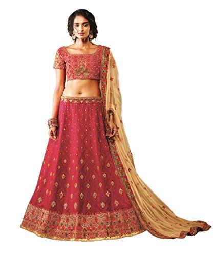 EthnicWear Maroon Art Silk Latest Pakistani Indian Wedding Bridal Reception Wear Lehenga (Pakistani Bridal Lehenga)