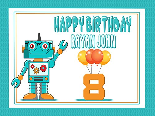 Custom Home Decor Cartoon Baby Robot With Balloons Birthday Poster for Kids - Size 36x24, 48x24, 48x36; Personalized Robot Happy Birthday Banner Wall Décor; Handmade Party Supply Poster Print