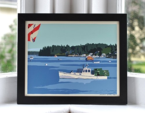 Port Clyde Lobster Boats Framed Print (8x10 Giclee Poster, Wall Decor Art) (Port Framed)