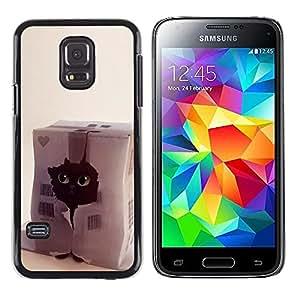 Stuss Case / Funda Carcasa protectora - Funny Cat Cute Pet Black House Heart - Samsung Galaxy S5 Mini, SM-G800, NOT S5 REGULAR!