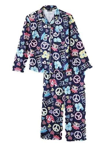 Blue Flannel Boxer - Joe Boxer Girls Blue Flannel Sleepwear Set Peace & Love Owl Pajamas PJs S
