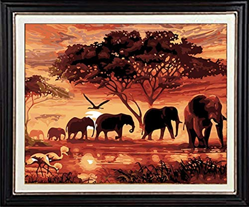(YOMIA 5D DIY Diamond Painting African Elephant Oil Paint by Number Kits, Cross Stitch Animals Crystal Rhinestone Diamond Mosaics Painting Patterns)