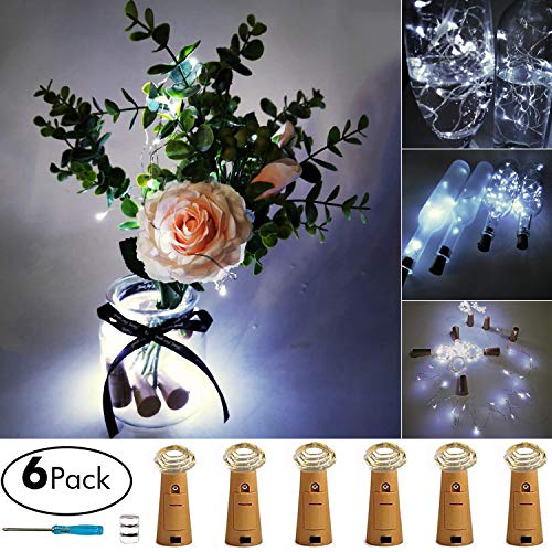 Aokely Wine Bottle Lights with Cork 20 LED Copper Wire String Lights, Pack of 6 Battery Operated Starry String Led Lights for Bottles DIY Christmas Wedding Party Decoration (White)