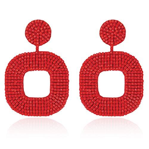 (Beaded Drop Earrings Bohemian Wire Wrapped Beaded Square Hoop Dangle Statement Earrings Studs for Women Girls (Red))