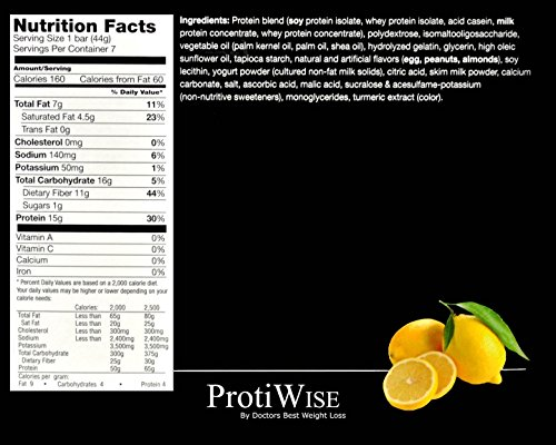 ProtiWise - Zesty Lemon Crisp High Protein Diet Bars 7 pack 1.6 oz bars