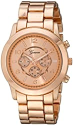 Rose Gold Geneva Chronograph Designer Watch with Metal Link Band