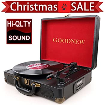 GoJiaJie Vinyl Record Player Turntable With Built In Speakers Support  Headphone U0026 RCA Output And AUX