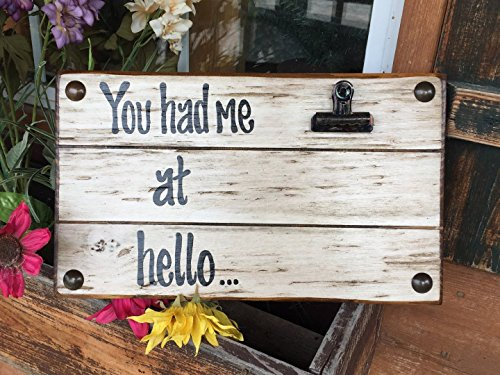PHOTO HOLDER You Had me at Hello Picture Wall Frame Reclaimed Love Sign with Clip Cream Wood Wedding Anniversary Gift for bride groom Home *Grandma Gift *Grandkids Spoiled Here *Grand (Heart Frame Name Pendant)