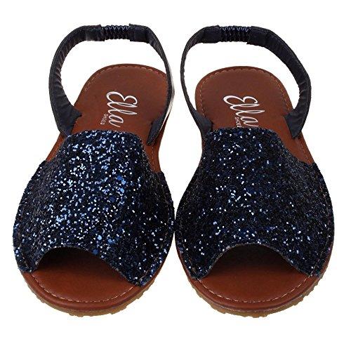Señoras Ella Glitter Slingback Flat menorquina puntera abierta español sandalias playa verano sandalias zapatos tamaño 3–8 Negro - negro
