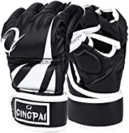GINGPAI UFC MMA Gloves,Half-Finger Boxing Fight Gloves for Men & Women, Kickboxing Gloves with Open Palms,