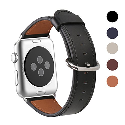 Apple Watch Band 42mm, WFEAGL Retro Top Grain Crazy Horse Leather Band Replacement Strap with Stainless Steel Clasp for iWatch Series 3,Series 2,Series 1,Sport, Edition (Black Band+Silver Buckle)