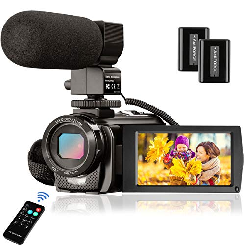 Video Camera Camcorder FHD 1080P 24.0MP Digital Camera YouTube Vlogging Camera 270 Degrees Rotatable 3.0 inch LCD Screen 16X Digital Zoom with External Microphone, Remote Control