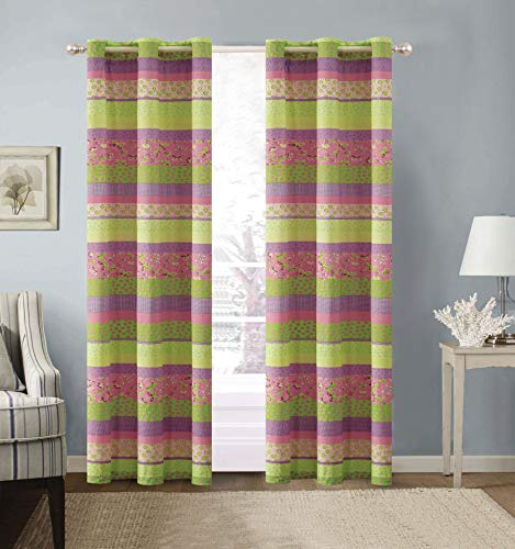 - Fancy Collection 2 Panel Curtain Set with Grommet Stripe Butterfly Flowers Pink Purple Green Yellow New# Daisy Dream