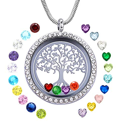 JOLIN Family Tree of Life Floating Necklace Locket Crystal Pendant All Birthstone Charms Include, Best Gift for Boy, Mom, Aunt, Friend, Grandma, Wife, Girlfriend -