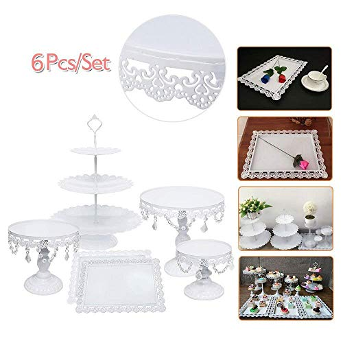 Cake Stands, 6 pcs Metal Crystal Cake Holder Cupcake Stands with Pendants and Beads Cake Stand Dessert, Wedding Birthday Dessert Cupcake Pedestal Display, White USA STOCK (6, white)