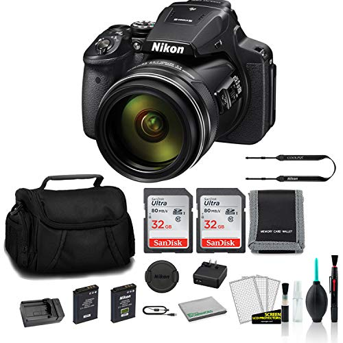 Nikon COOLPIX P900 Point & Shoot 83x Zoom Digital Camera (Black) 26499 Bundle with 2X 32GB Memory Card + Spare Battery and Travel Charger