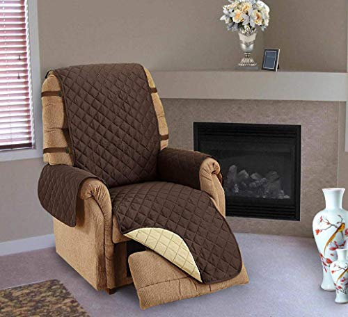 CT DISCOUNT STORE Protect Your Furniture a Comfortable Reversible Quilt Chair Cover Double Strap to Stay in Place (Recliner, Brown/Tan)