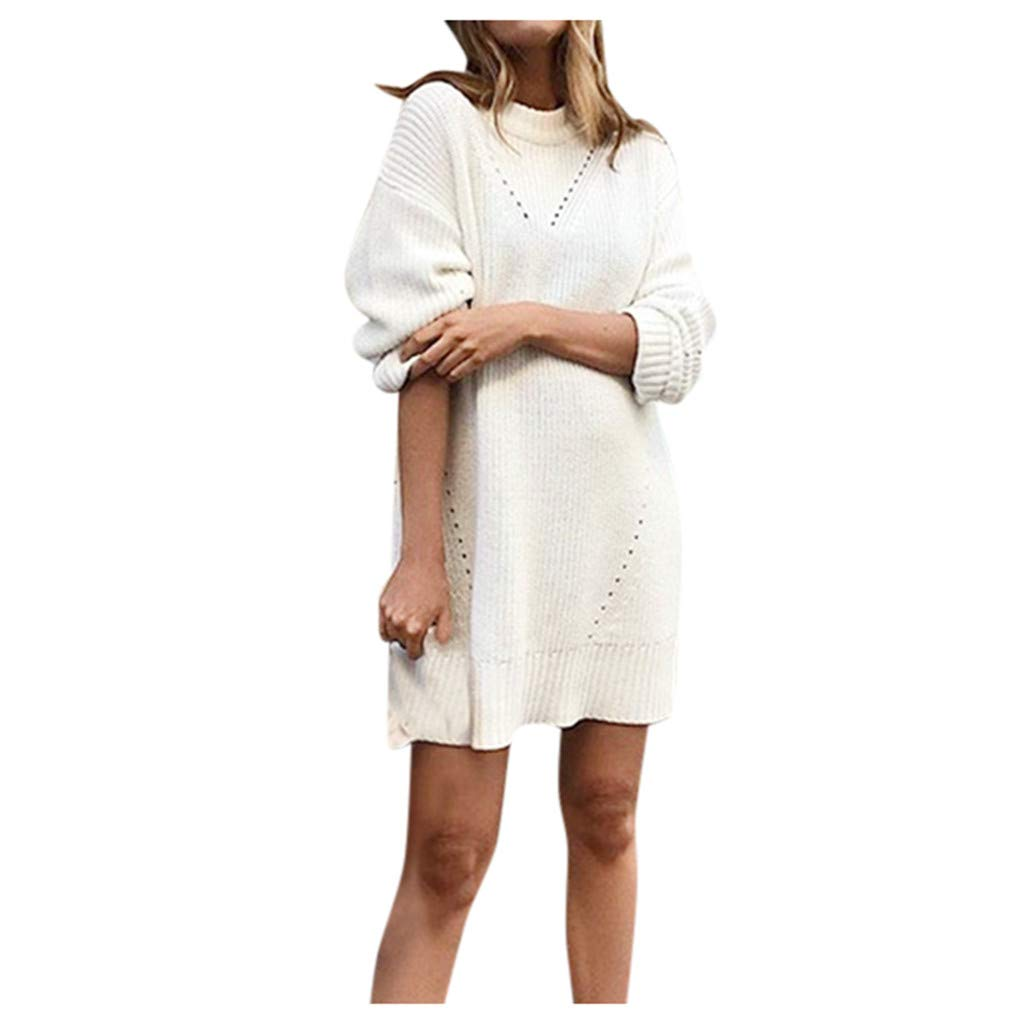 Women's Long Sleeve Pullover Sweater Dress Hollow Out Loose Waffle Knitted T Shirt Dress Plain Stretchy Casual Oversized Warm Midi Dress by Armfre women-dress