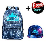 Provone Fortnite Battle Royale Luminous School Backpack Fashion Hat for Kids Students and Fans(H03)