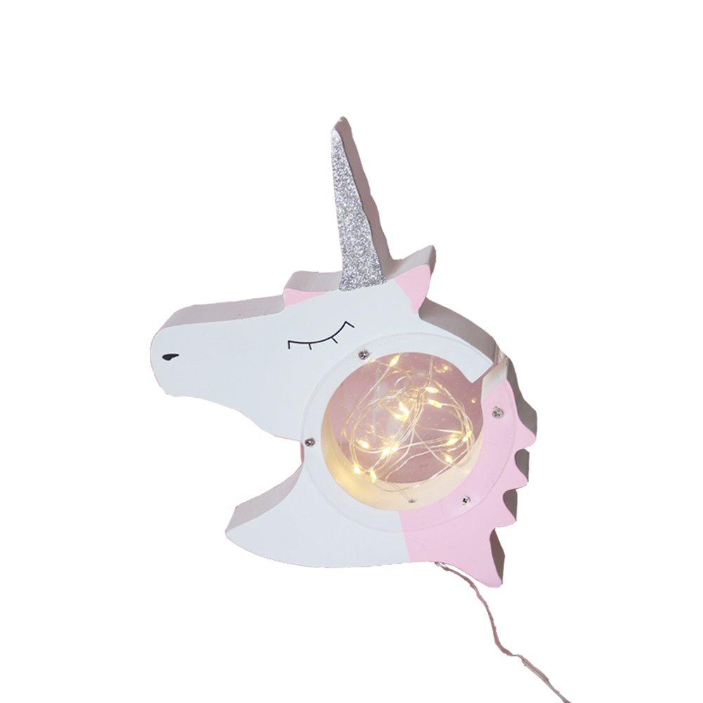 Cute Unicorn Head Light Up LED Night Light For Baby Room Decorative, Wood Unicorn Decorative Signs For Nursery Bedroom Living Room Table Decor(Wood Unicorn Head)