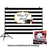 Allenjoy 8x6ft photography backdrops Graduation Party Class of 2018 Black and white Stripe banner photo studio booth background photocall