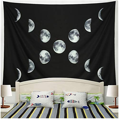 Racunbula Moon Phase Tapestry Black and White Wall Tapestry Bohemian Moon Change Wall Hanging Lunar Eclipse Wall Tapestries Moon Constellations Tapestry for Bedroom Dorm Decor