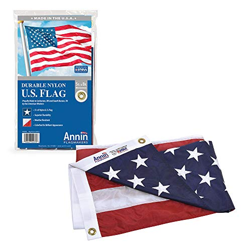 Annin Flagmakers Model 2270 American Flag 5x8 ft. Nylon SolarGuard Nyl-Glo , 100% Made in USA with Sewn Stripes, Embroidered Stars and Brass Grommets. (God Bless The Child That Has Its Own)