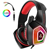 PS4 Gaming Headset, Wired PC Gaming Headset with mic, 3.5mm Over-Ear Bass Stereo, Control Noise, Colourful LED Light for Xbox One S, Nintendo Switch, PC, Laptop, Tablet, Mobile (Red)