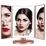 DAHOMI Tri-fold Lighted Vanity Makeup Mirror with 1x/2x/3x Magnification, 36 LED Lights Bright Natural withTouch screen,180° free Rotation, Countertop Cosmetic Mirror,Travel Mirror