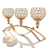 Manvi Gold Crystal Candle Holders, 3 Holders Metal Candelabra for Mothers Day Wedding Gifts Weddings Parties Dinning Table Centerpieces, Christmas Festival Birthday Gifts