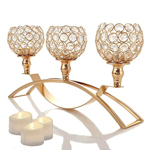 Manvi Gold Crystal Candle Holders, 3 Holders Metal Candelabra for Mothers Day Wedding Gifts Weddings Parties Dinning Table Centerpieces, Christmas Festival Birthday Gifts ()