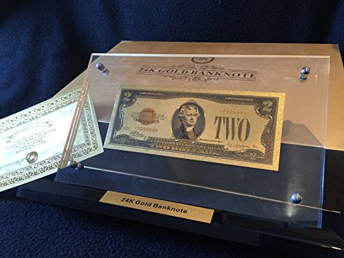 Gold Colored Foil 1928 Us Novelty Money Banknote  2 With Gold Certificate  Display Stand And Gift Box   Free Lucky Donk Sticker