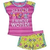 Hatchimals Girls' Big Glitter Pets 2-Piece Pajama Short Set