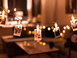 Photo Clip String Lights 20-LED USB-Powered with 8-mode...