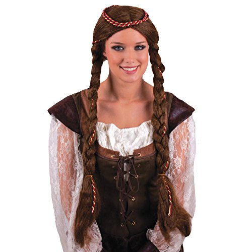 Funny Fashion Medieval Rennaisance Princess Braided Wig, Brown, One-Size