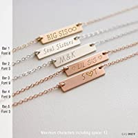 Personalized Engraved Horizontal Bar Necklace 20X4 Millimeter