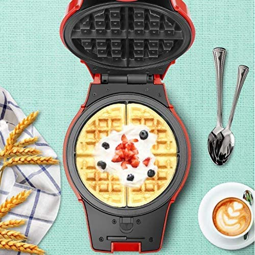 Small Waffle Maker Iron Machine,Double-Sided Heating,Non-Stick Coating,3 Types of Baking Trays,800W Multi-Function Pancake Machine,Red,33x26x20cm