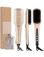 MOOKA Ionic Hair Straightener Brush for Silky Frizz-free...