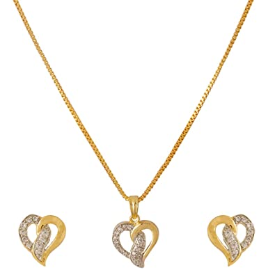 85cfb8fb2eec2 Buy Voylla Traditional Alloy with Yellow Gold Tone Plated Cubic Zirconia  Pendant Sets for Women Online at Low Prices in India