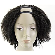 Ms Fenda Hair 100% Peruvian Remy Virgin Human Hair Afro Kinky Curly Style U-Part Full Machine Made Wigs (14inch, Afro Kinky Curly)